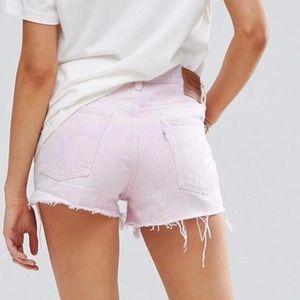 LEVI's 501 Acid Light Pink Cut Off Denim Shorts 29